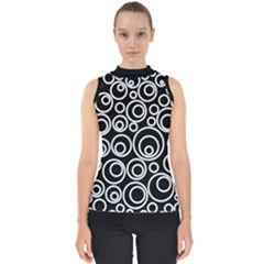 Abstract White On Black Circles Design Mock Neck Shell Top by LoolyElzayat