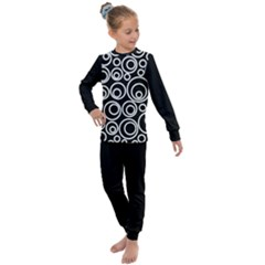 Abstract White On Black Circles Design Kids  Long Sleeve Set  by LoolyElzayat