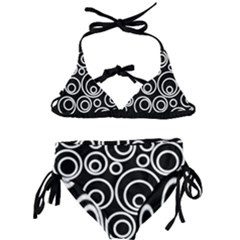 Abstract White On Black Circles Design Kids  Classic Bikini Set