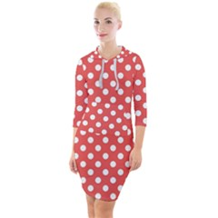 Red White Polka Dots Quarter Sleeve Hood Bodycon Dress