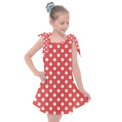 Red White Polka Dots Kids  Tie Up Tunic Dress