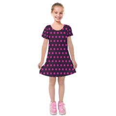 Pink Black Polka Dots Kids  Short Sleeve Velvet Dress by retrotoomoderndesigns