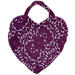 Magenta And White Abstract Print Pattern Giant Heart Shaped Tote by dflcprintsclothing