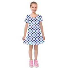 Shades Of Blue Polka Dots Kids  Short Sleeve Velvet Dress by retrotoomoderndesigns