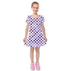 Shades Of Purple Polka Dots Kids  Short Sleeve Velvet Dress by retrotoomoderndesigns