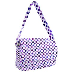 Shades Of Purple Polka Dots Courier Bag by retrotoomoderndesigns
