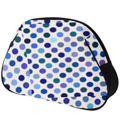 Shades Of Blue Polka Dots Full Print Accessory Pouch (big)