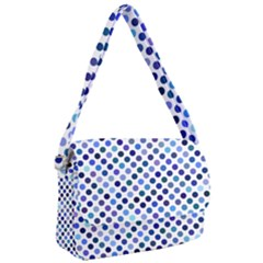 Shades Of Blue Polka Dots Courier Bag by retrotoomoderndesigns