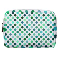 Shades Of Green Polka Dots Make Up Pouch (medium)