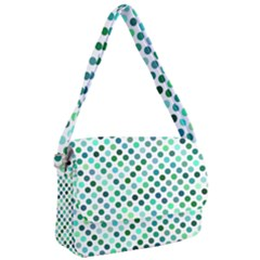 Shades Of Green Polka Dots Courier Bag by retrotoomoderndesigns