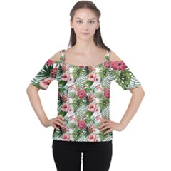 Tropical Flowers Cutout Shoulder Tee by goljakoff