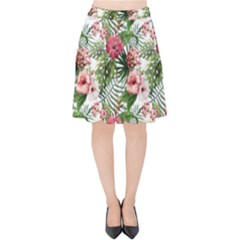 Tropical Flowers Velvet High Waist Skirt by goljakoff