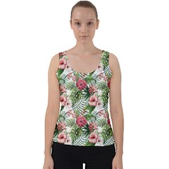Tropical Flowers Velvet Tank Top by goljakoff
