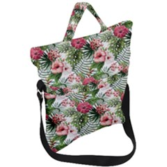 Tropical Flowers Fold Over Handle Tote Bag by goljakoff