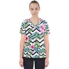 Geometric Flowers Pattern Women s V Neck Scrub Top by goljakoff