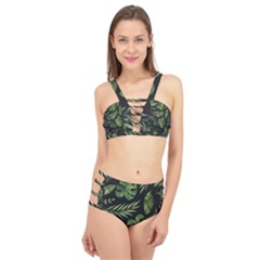 Night Tropical Leaves Cage Up Bikini Set by goljakoff
