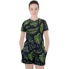 Night Tropical Leaves Women s Tee And Shorts Set by goljakoff