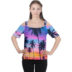 Summer Evening Palms Cutout Shoulder Tee by goljakoff