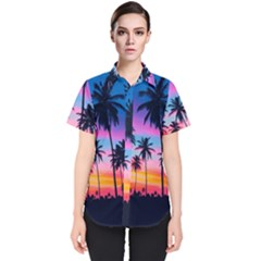 Summer Evening Palms Women s Short Sleeve Shirt by goljakoff