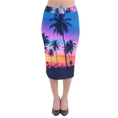 Summer Evening Palms Velvet Midi Pencil Skirt by goljakoff