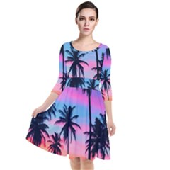 Summer Evening Palms Quarter Sleeve Waist Band Dress