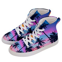 Summer Evening Palms Women s Hi Top Skate Sneakers by goljakoff
