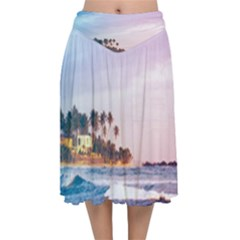 Seascape Velvet Flared Midi Skirt by goljakoff