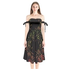 Gradient Tropical Leaves Shoulder Tie Bardot Midi Dress by goljakoff