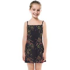 Gradient Tropical Leaves Kids  Summer Sun Dress by goljakoff