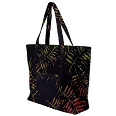 Gradient Tropical Leaves Zip Up Canvas Bag