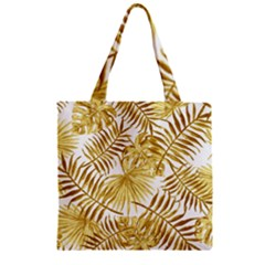 Gold Tropical Leaves Zipper Grocery Tote Bag by goljakoff