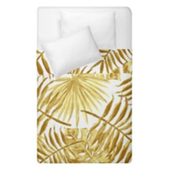 Gold Tropical Leaves Duvet Cover Double Side (single Size) by goljakoff