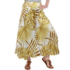 Gold Tropical Leaves Satin Palazzo Pants by goljakoff