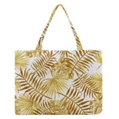 Gold Tropical Leaves Zipper Medium Tote Bag by goljakoff