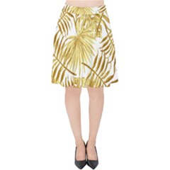 Gold Tropical Leaves Velvet High Waist Skirt by goljakoff