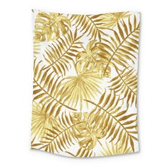 Gold Tropical Leaves Medium Tapestry by goljakoff