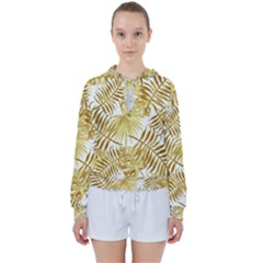 Gold Tropical Leaves Women s Tie Up Sweat by goljakoff