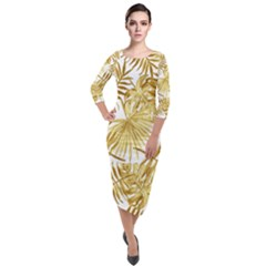 Gold Tropical Leaves Quarter Sleeve Midi Velour Bodycon Dress by goljakoff