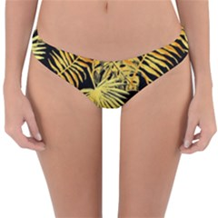 Gold Tropical Leaves Reversible Hipster Bikini Bottoms by goljakoff