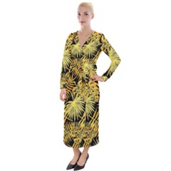 Gold Tropical Leaves Velvet Maxi Wrap Dress