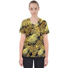 Gold Tropical Leaves Women s V Neck Scrub Top by goljakoff