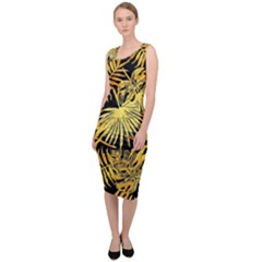 Gold Tropical Leaves Sleeveless Pencil Dress by goljakoff