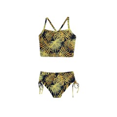 Gold Tropical Leaves Girls  Tankini Swimsuit by goljakoff