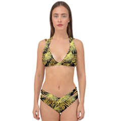 Gold Tropical Leaves Double Strap Halter Bikini Set by goljakoff