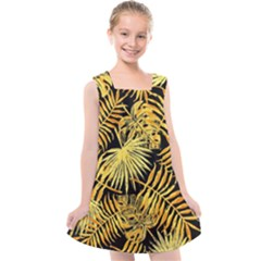 Gold Tropical Leaves Kids  Cross Back Dress by goljakoff