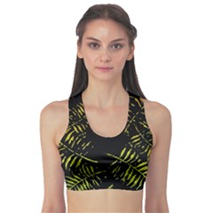 Green Tropical Leaves Sports Bra by goljakoff