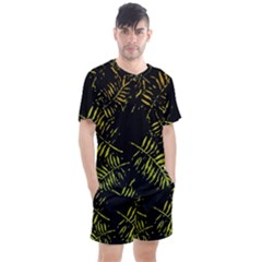 Green Tropical Leaves Men s Mesh Tee And Shorts Set by goljakoff