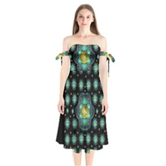 Light And Love Flowers Decorative Shoulder Tie Bardot Midi Dress by pepitasart