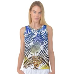 Yellow And Blue Tropical Leaves Women s Basketball Tank Top by goljakoff