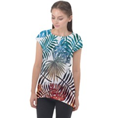 Gradient Tropical Leaves Cap Sleeve High Low Top by goljakoff